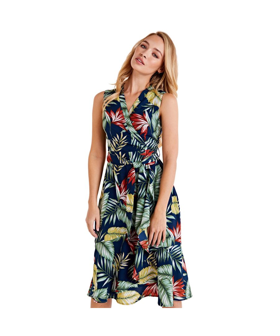 Image for Tropical Leaf Print Wrap Dress