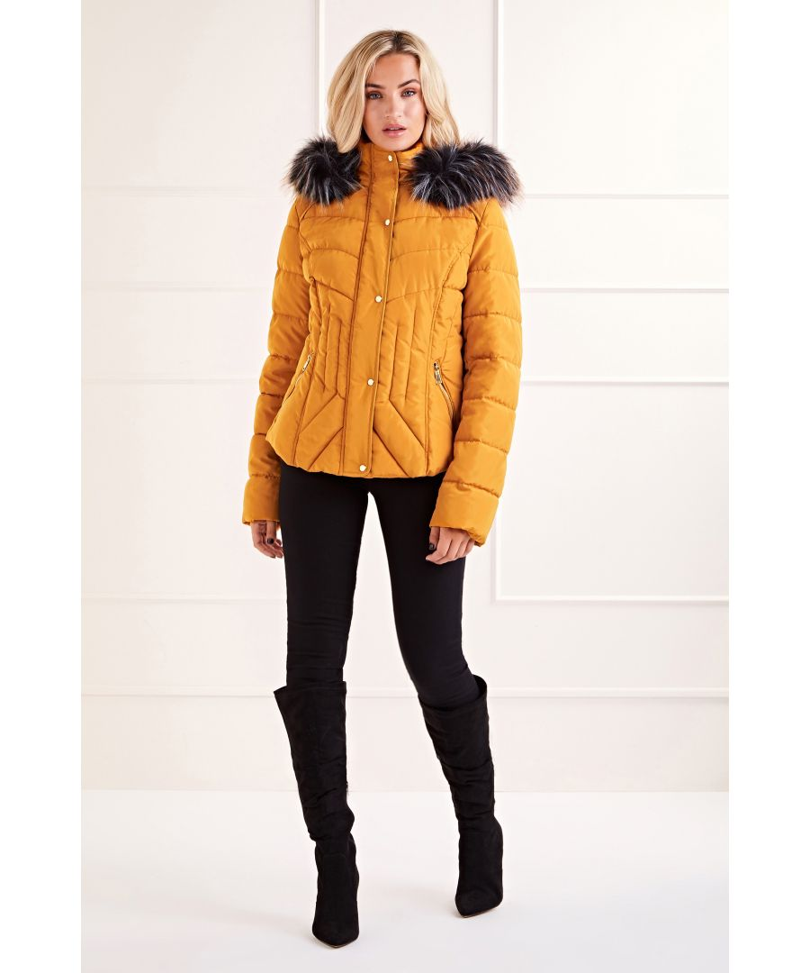 Image for Mustard Fitted Fur Hood Puffer Jacket