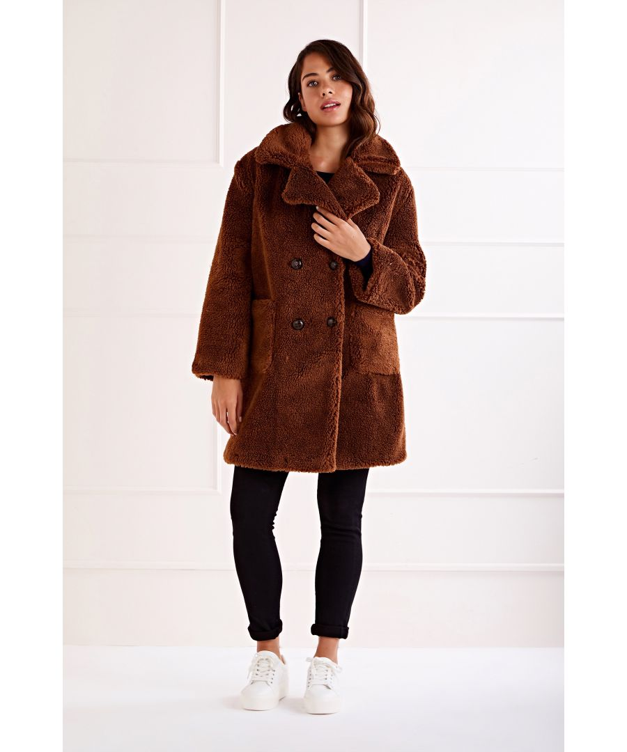 Image for Tan Drop Shoulder Double Breasted Teddy Coat