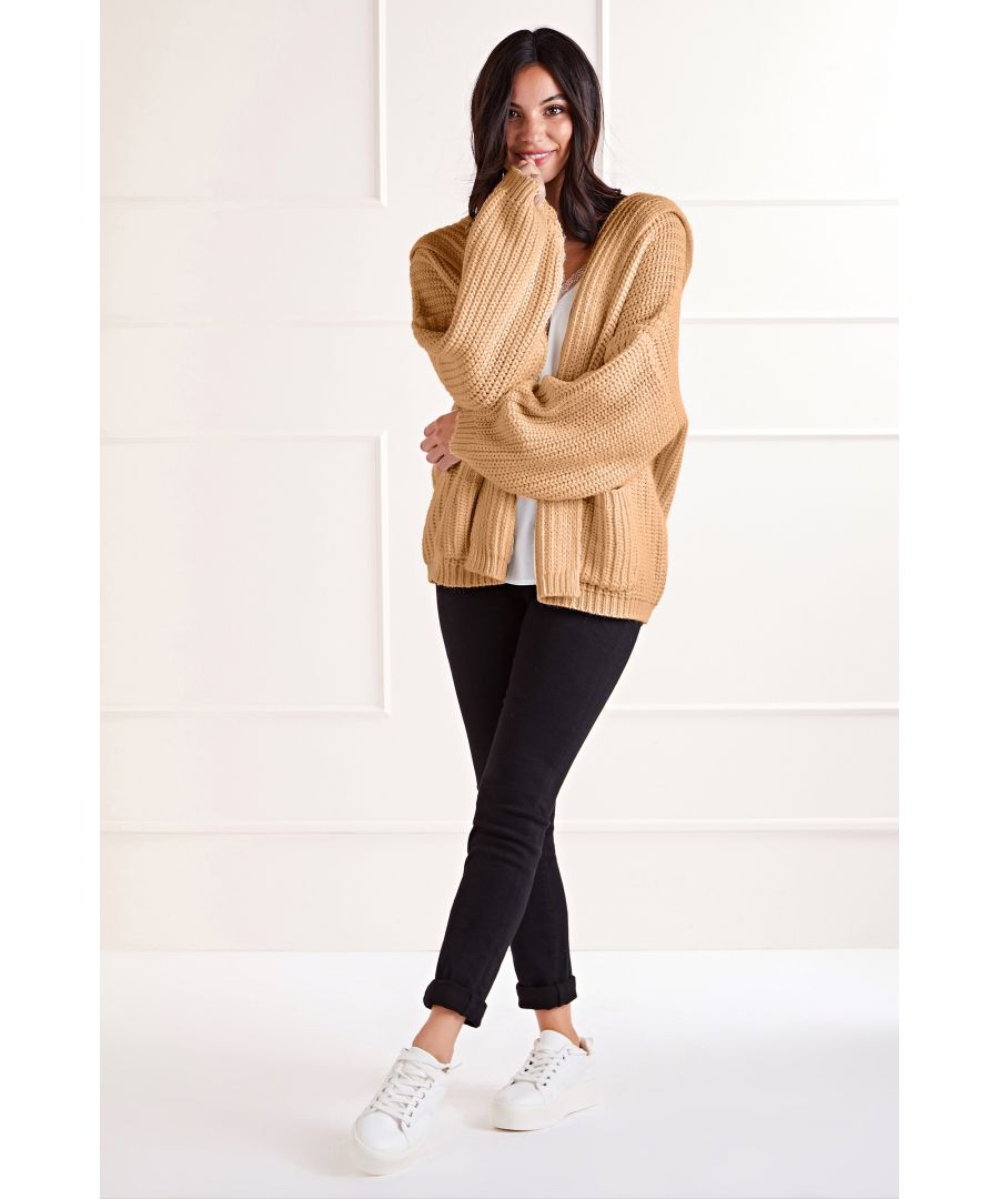 Image for Camel Hoody Cardigan With Square Pockets