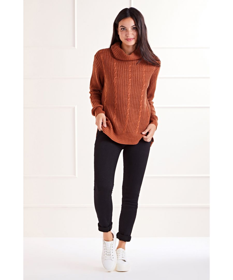 Image for Brown Cable Roll Neck Jumper