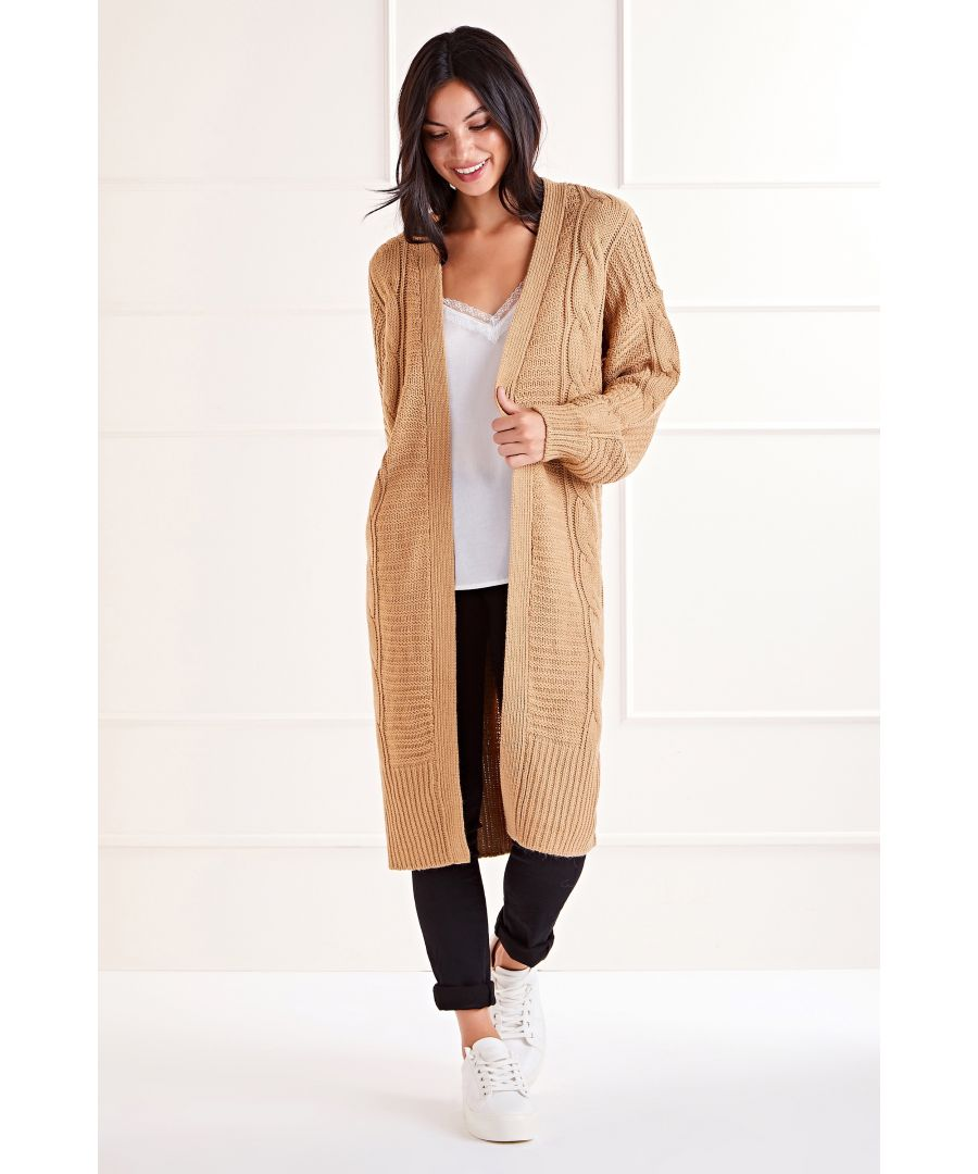 Image for Camel Longline Edge To Edge Cable Cardigan