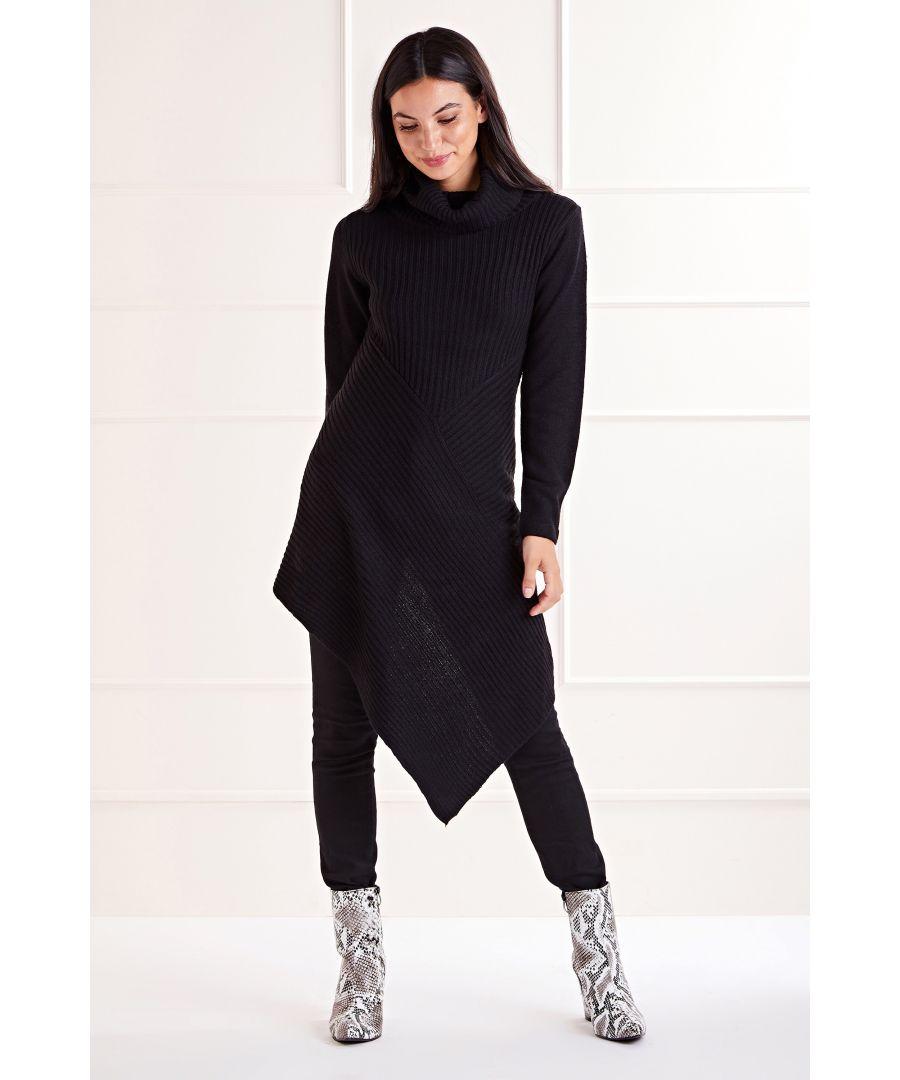 Image for Black Asymmetric Rib Dress