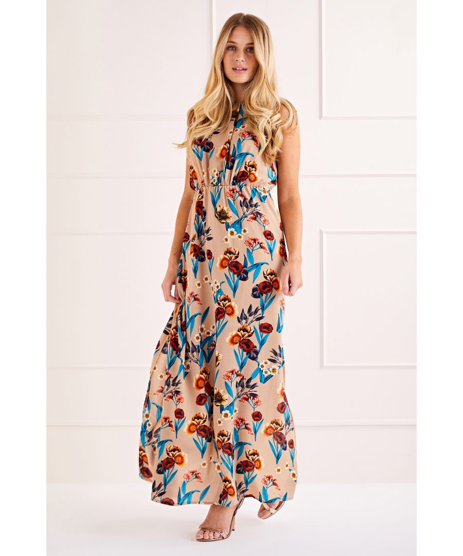 Image for Beige Poppy Print High Neck Maxi Dress