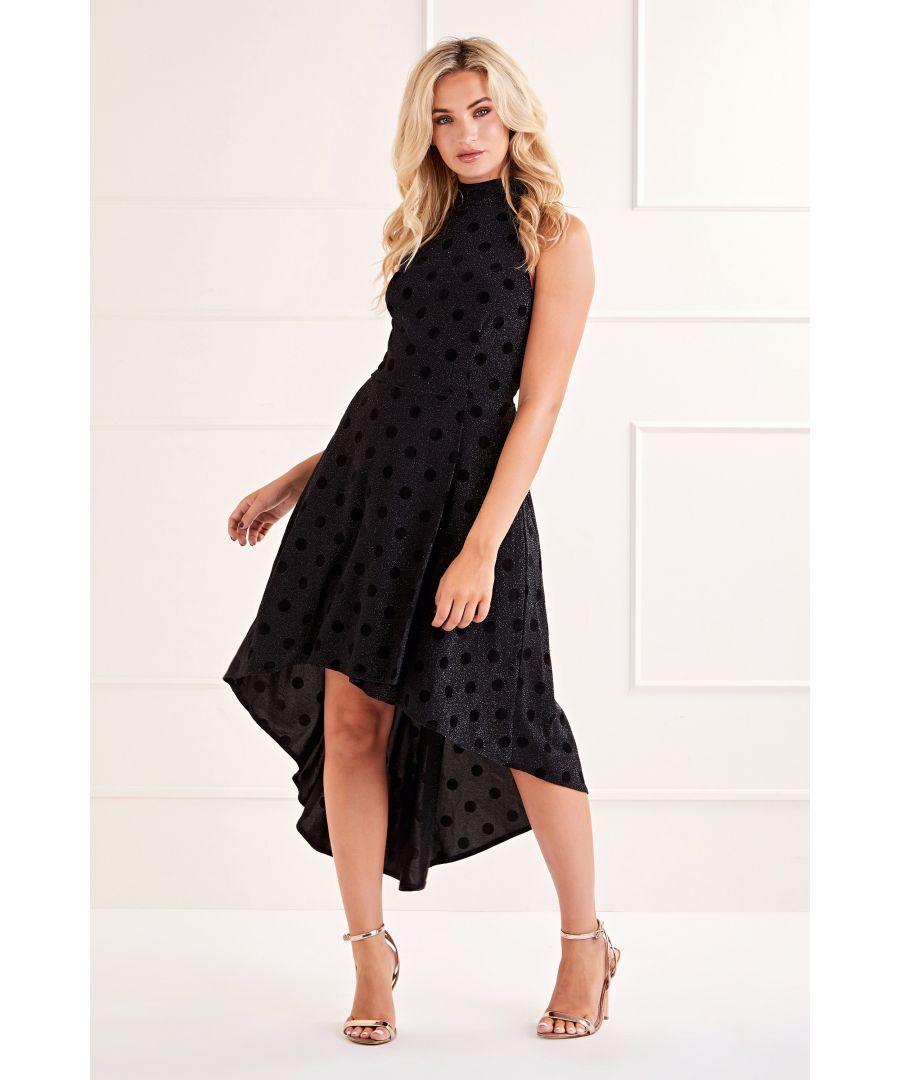 Image for Black Polka Dot Halter Neck Dress