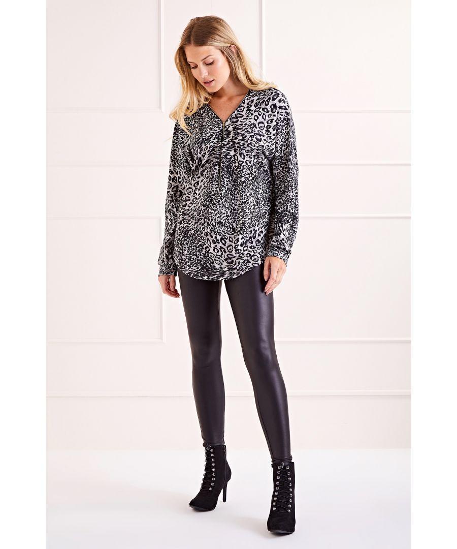 Image for Grey Leopard Print Zip Top Jumper