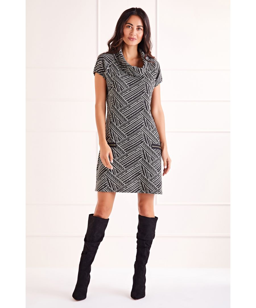 Image for Multi Cowl Neck Zip Dress