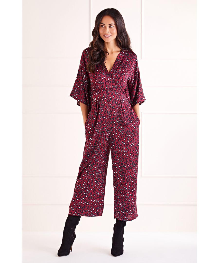 Image for Burgundy Leopard Print Kimono Sleeve Jumpsuit