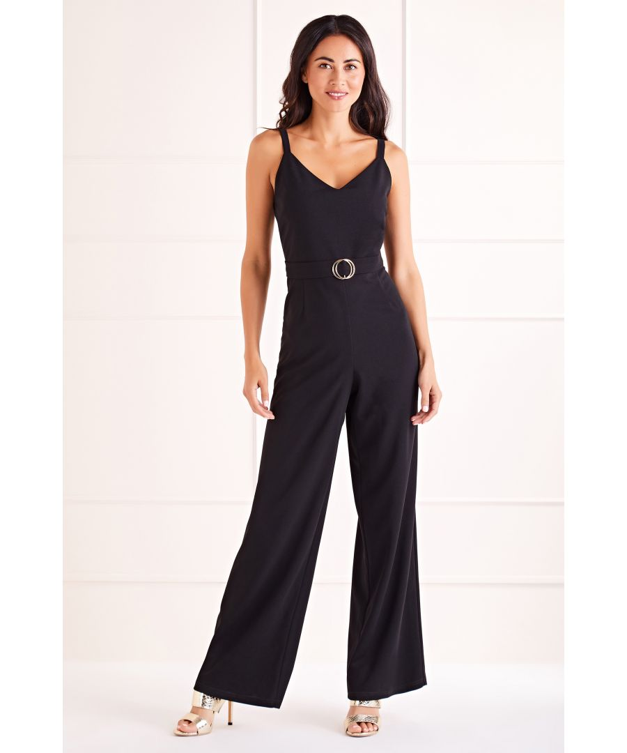 Image for Black Double Ring Belted Jumpsuit