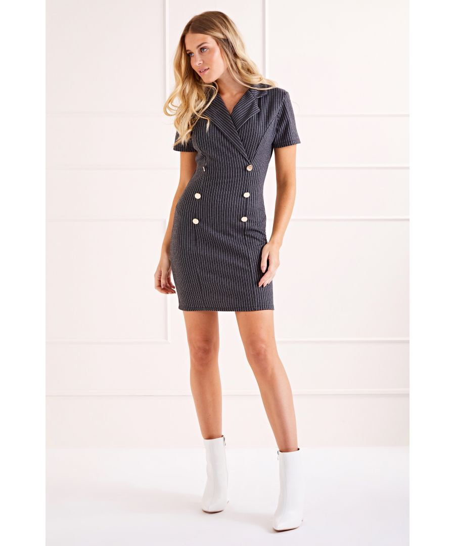 Image for Dark Grey Military Bodycon Dress