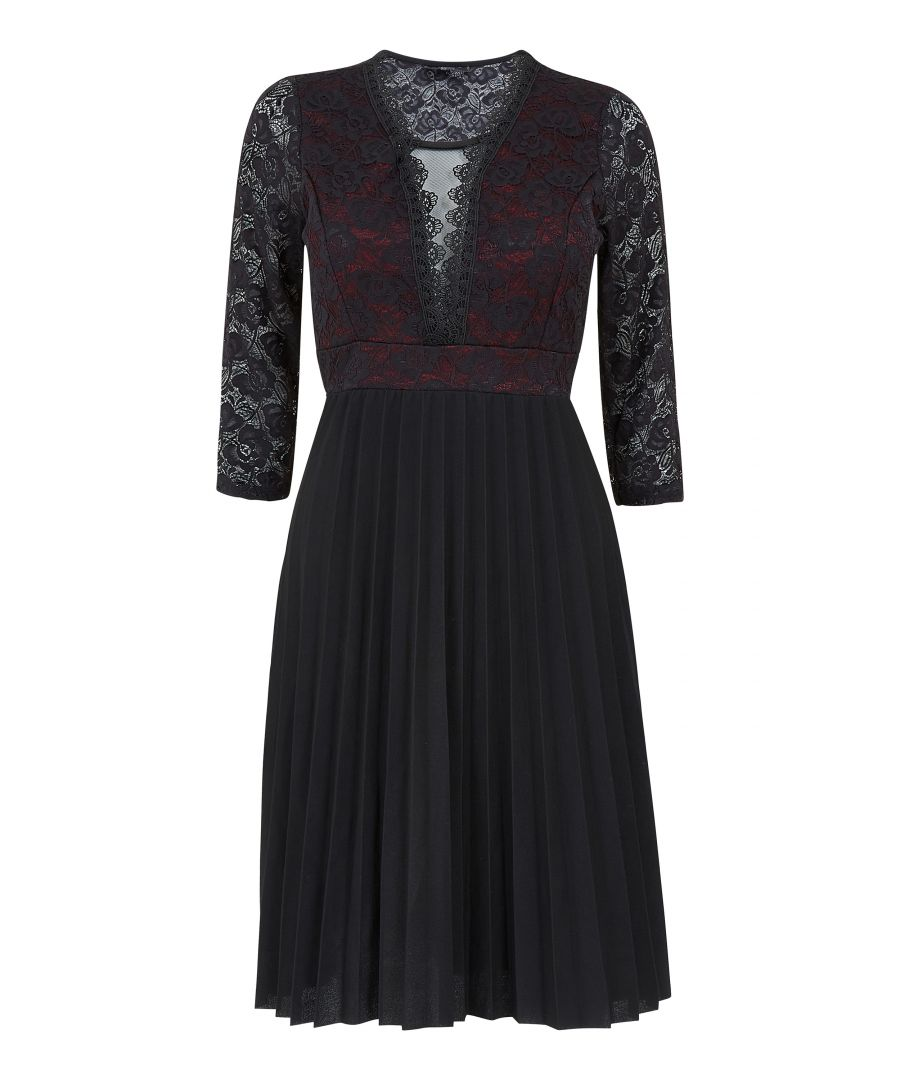 Image for Lace Top Pleated Skirt Dress