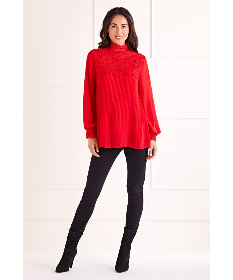 Image for Red High Neck Pleat Blouse