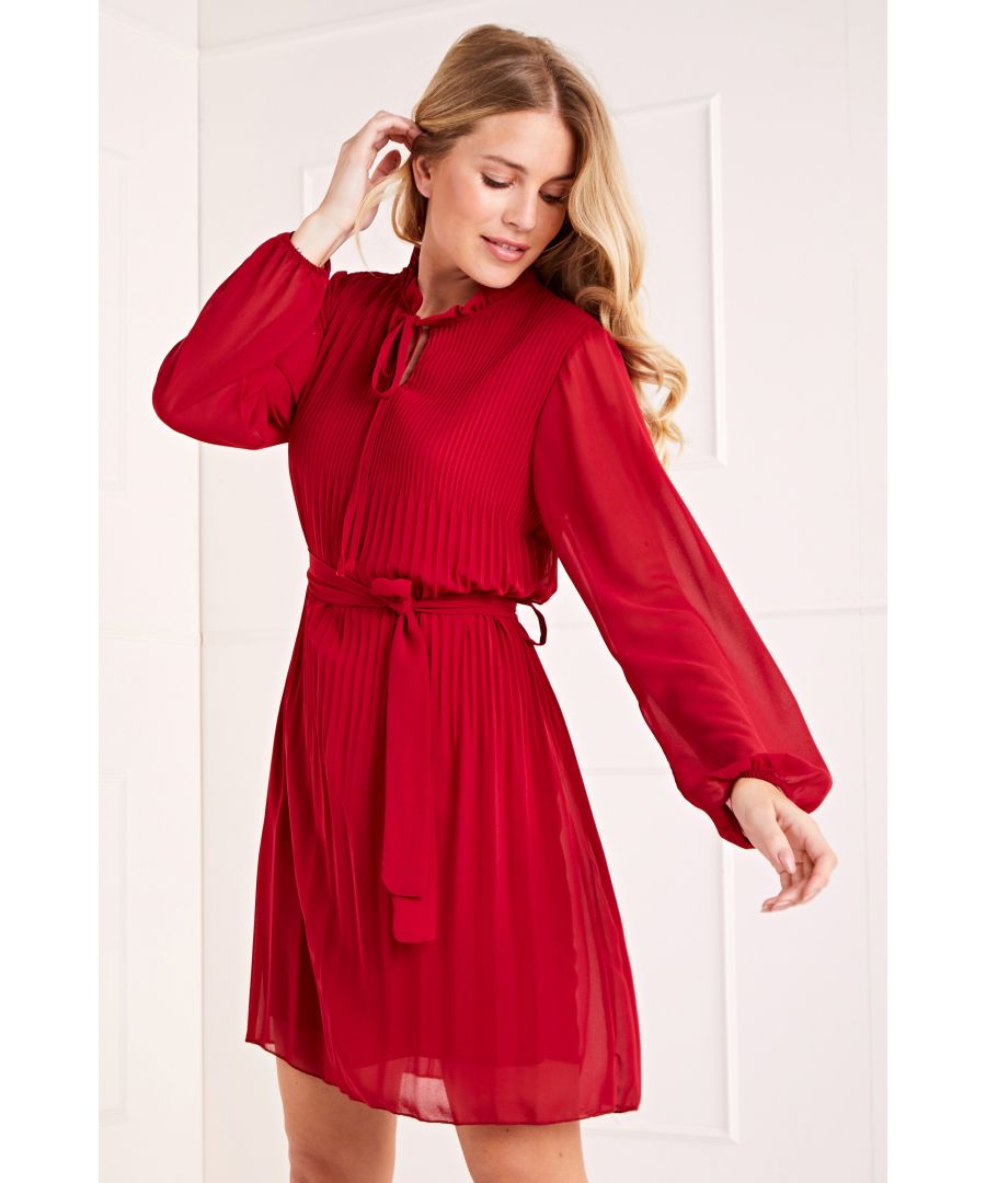 Image for Long Sleeve Pleated Belted Dress