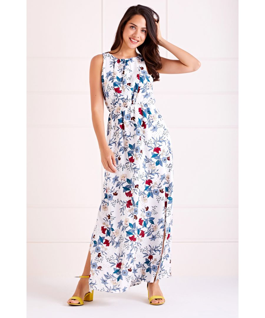 Image for White Spring Bloom High Neck Maxi Dress