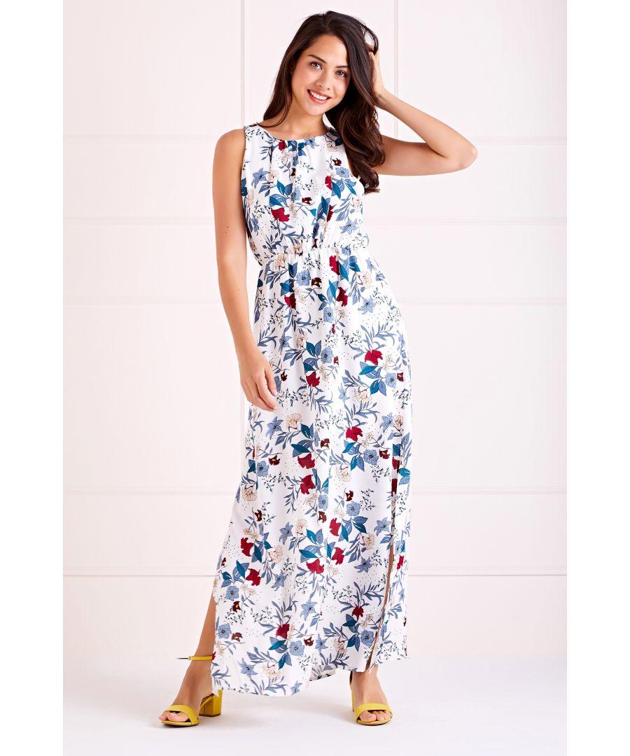 Image for White Spring Bloom High Neck Maxi Dress
