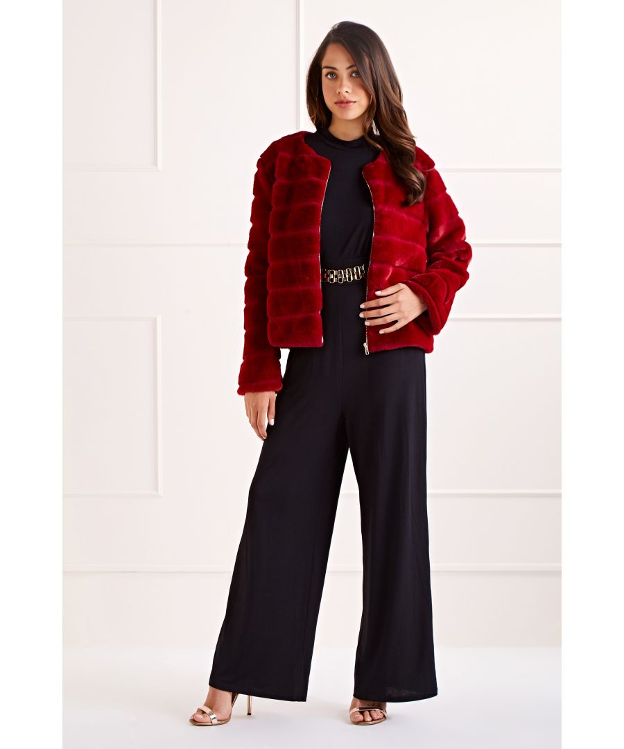 Image for Burgundy Faux Fur Collarless  Long Sleeve Chic Coat