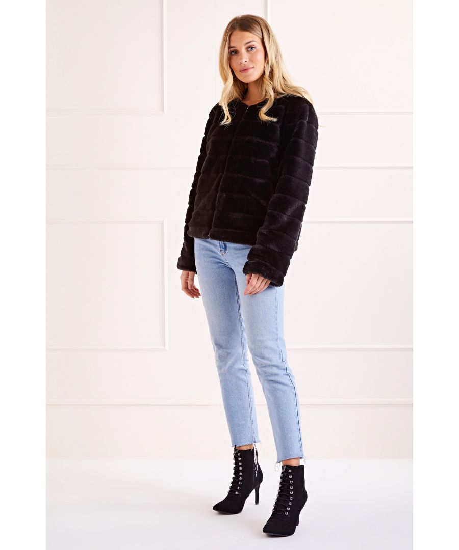 Image for Black Faux Fur Long Sleeve Chic Coat