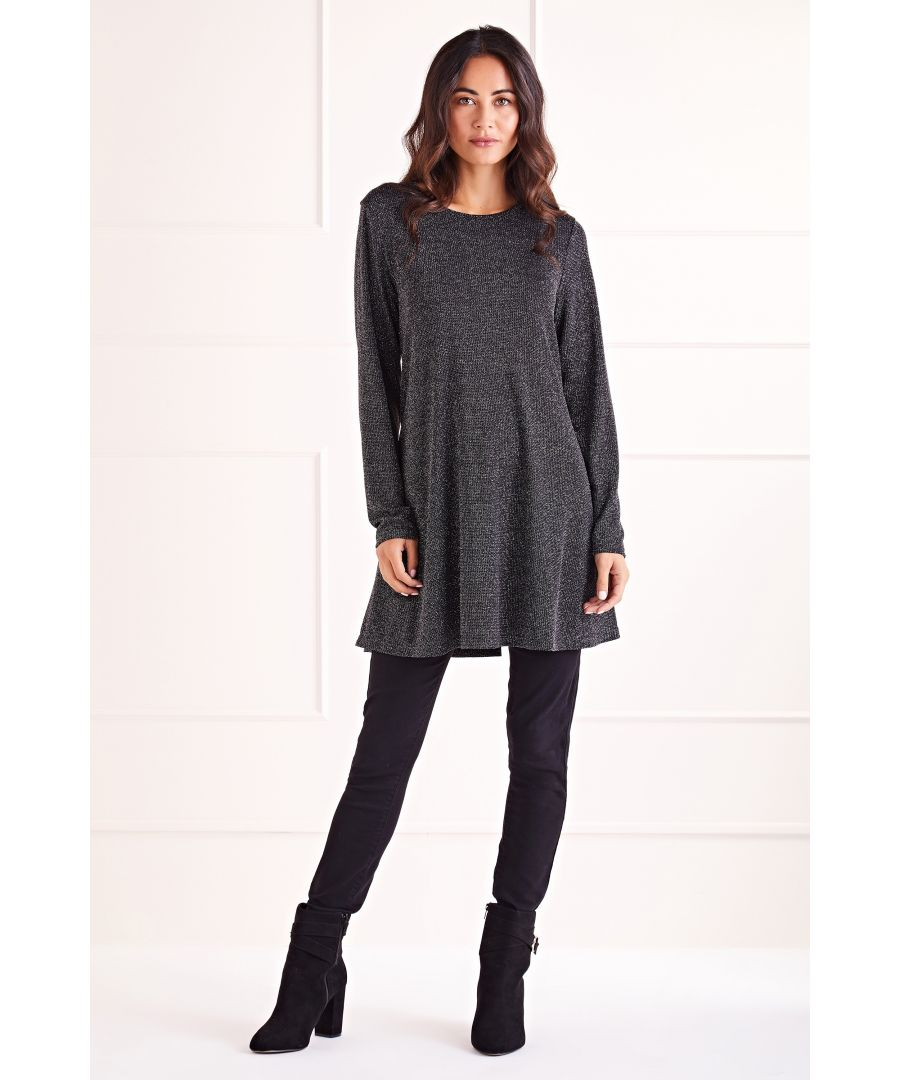 Image for Silver Shimmer Long Sleeve Tunic Dress