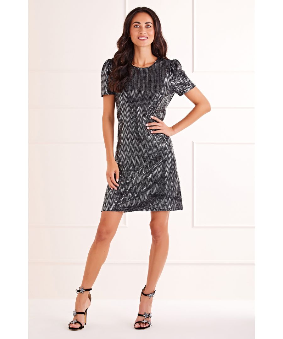 Image for Silver Metallic Puff Sleeve Dress