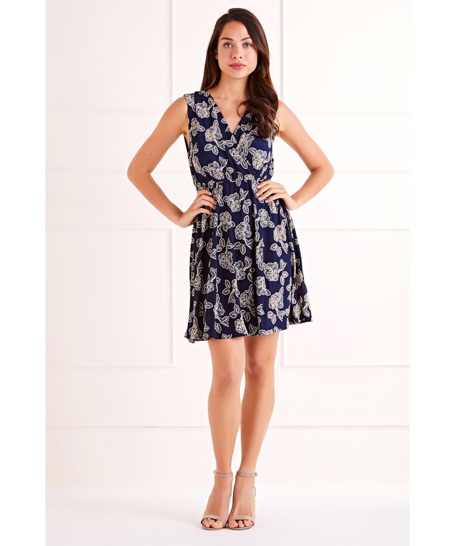 Image for Navy Flower Print Wrap Dress