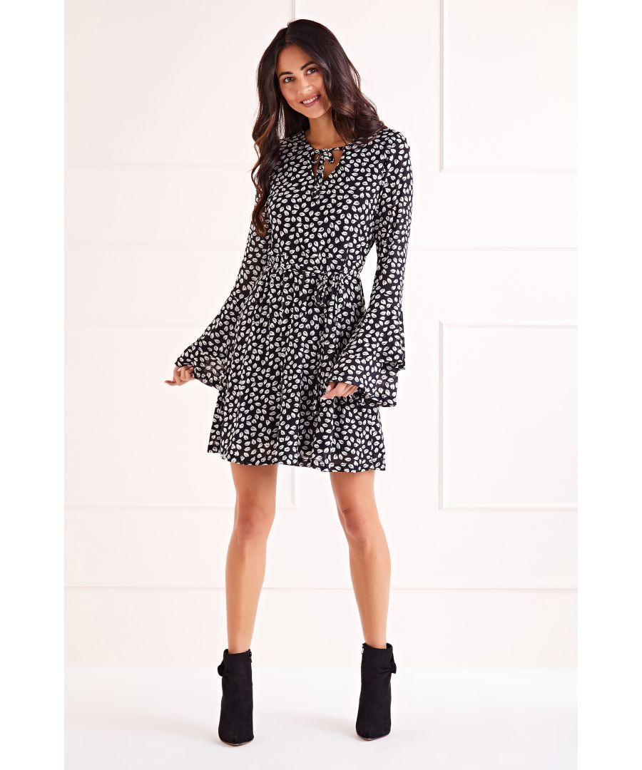 Image for Black Falling Leaves Print Double Trumpet Sleeve Dress