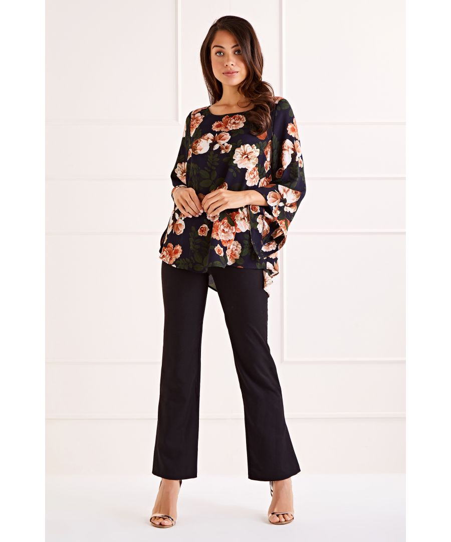 Image for Navy Blossom Roses Print Long Sleeve  Blouse