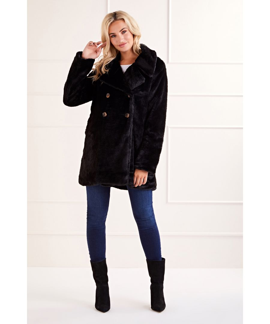Image for Black Double Breasted Faux Fur Jacket