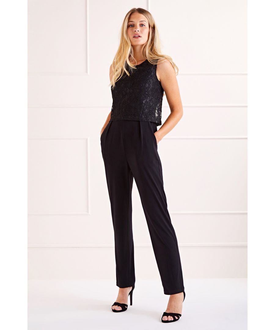 Image for Black Lace Top Overlay Jumpsuit