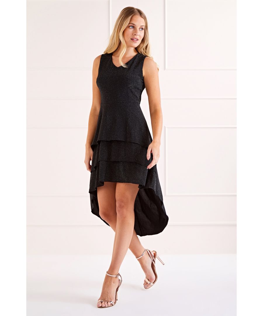 Image for Silver Triple Ruffle High Low Shimmer Dress