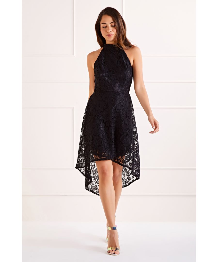 Image for Black Lace Halter High Low Dress