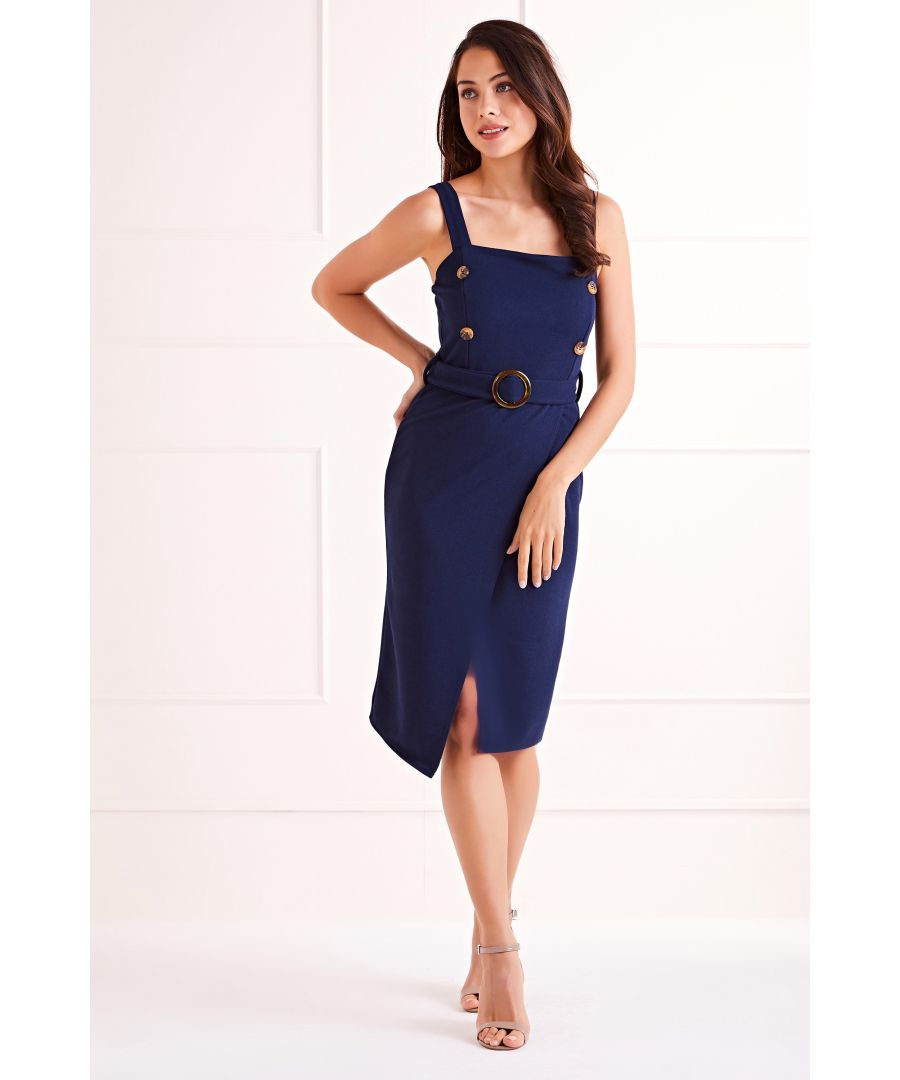 Image for Navy Fitted Detail Bodycon Side Button Dress