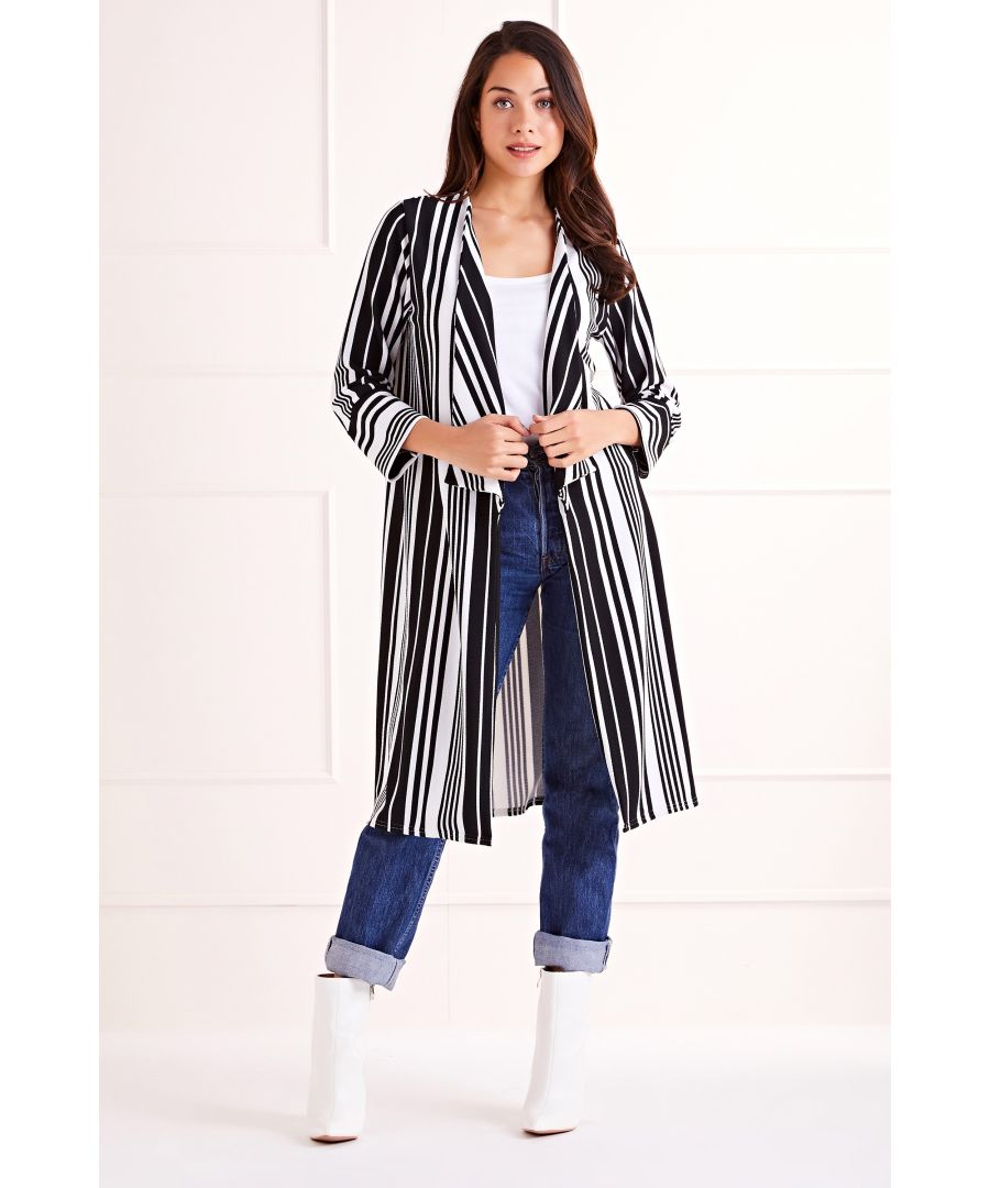 Image for Black/ White Stripe Maxi Cardigan
