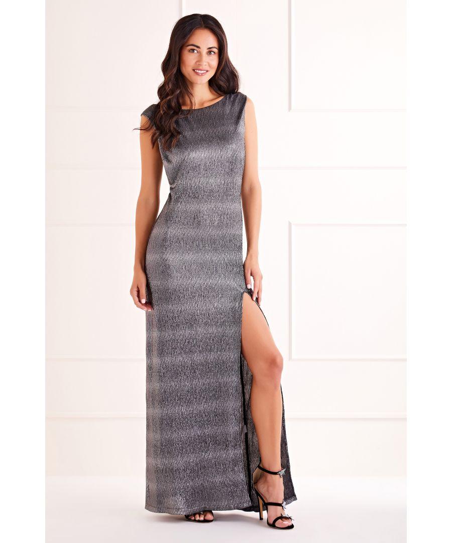 Image for Black Side Slit Shimmer Maxi Dress