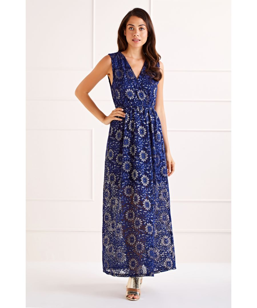 Image for Navy Flower Lace Wrap Front Maxi Dress