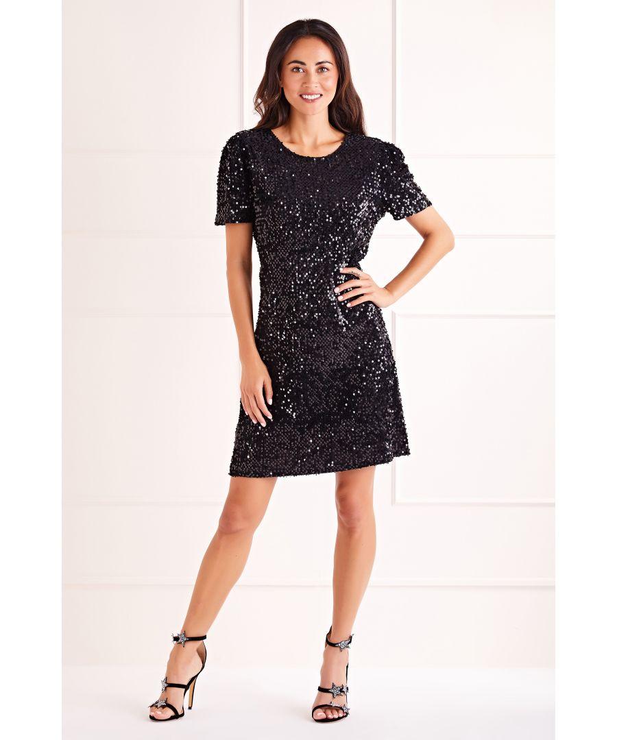 Image for Black Sequin Shift Dress