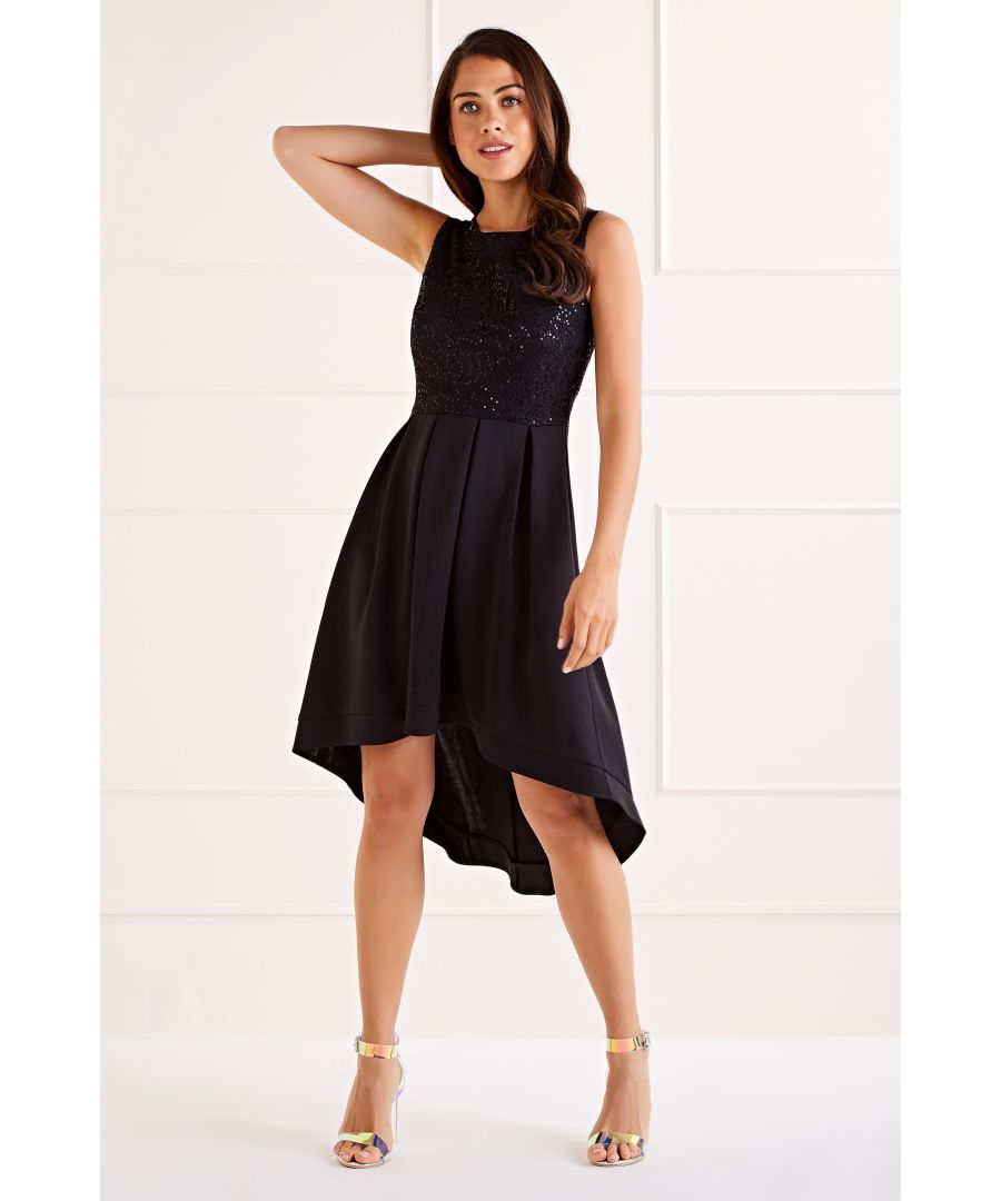 Image for Black Sequin Lace Top High Low Dress