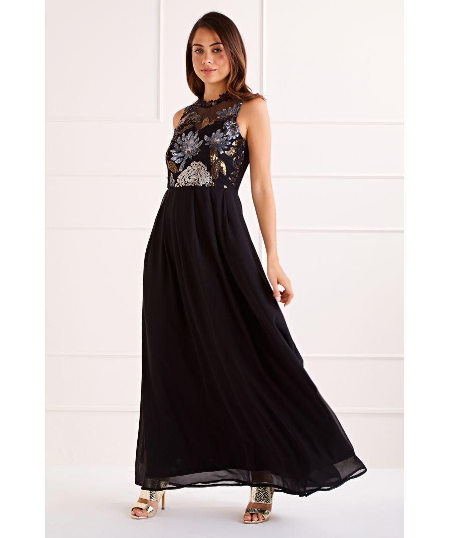 Image for Black Tropical Sequin Top Maxi Dress