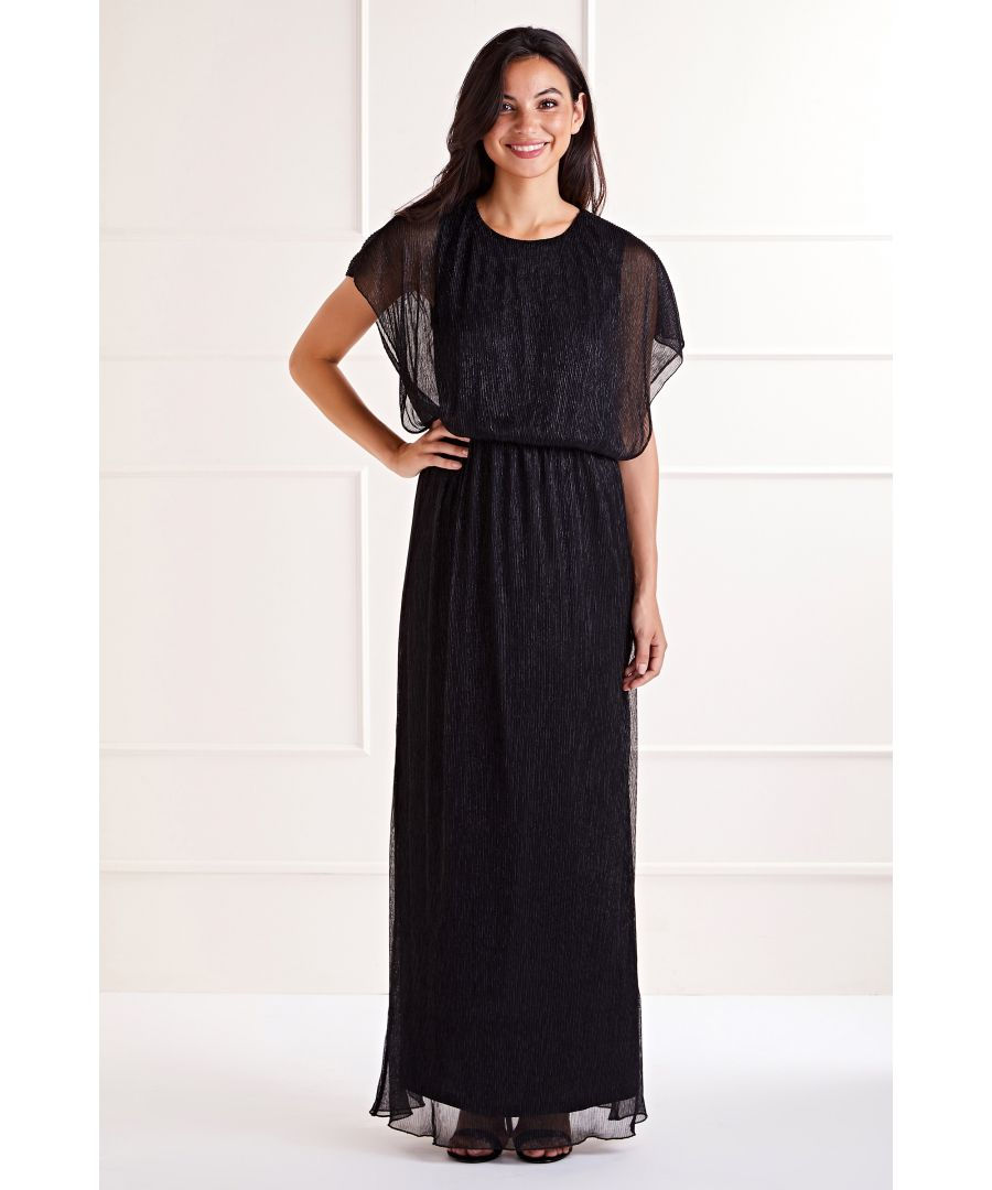 Image for Black Vertical Shimmer Maxi Dress