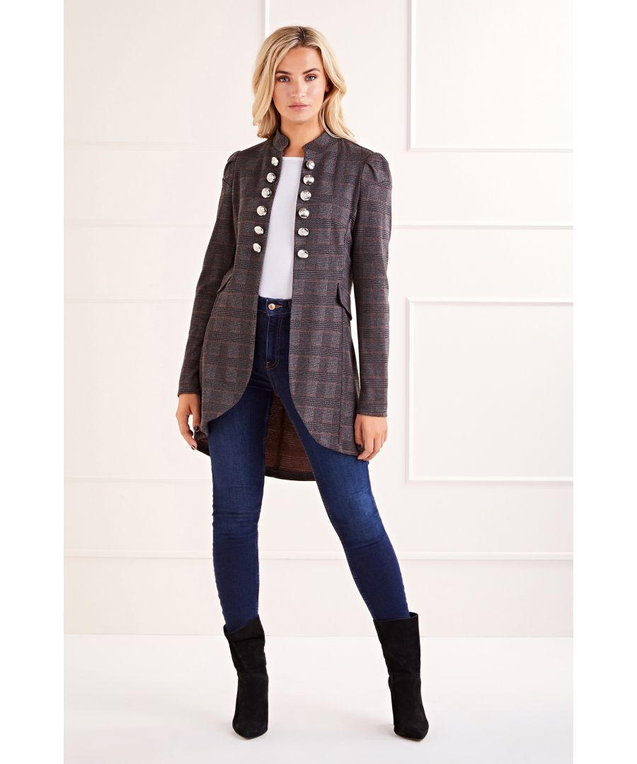 Image for Grey Checkered Military Jacket