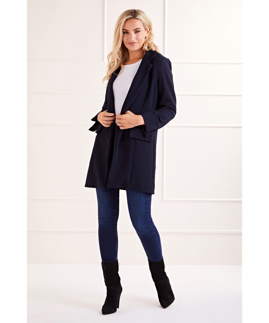 Image for Navy Boucle Long Blazer