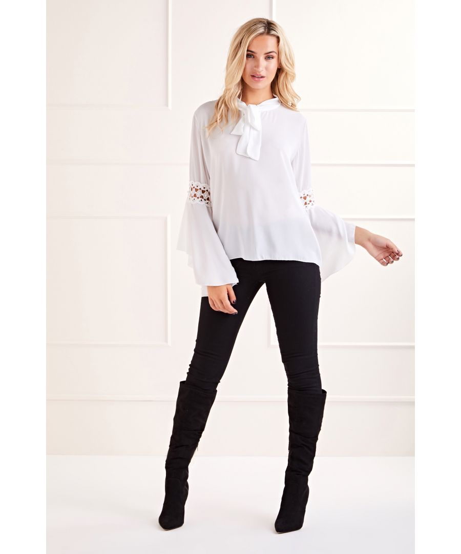 Image for White Pearl Lace Sleeve Blouse