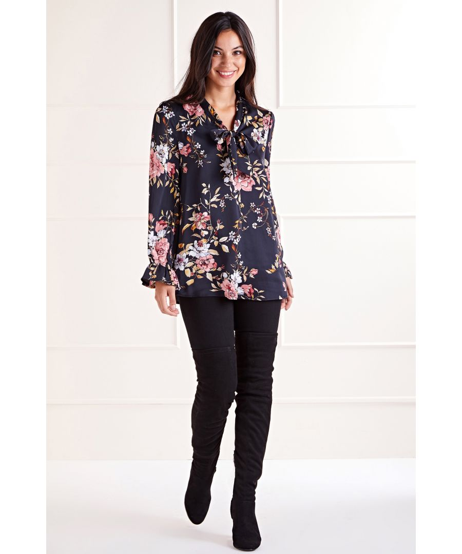 Image for Black Floral Garden Bow Blouse