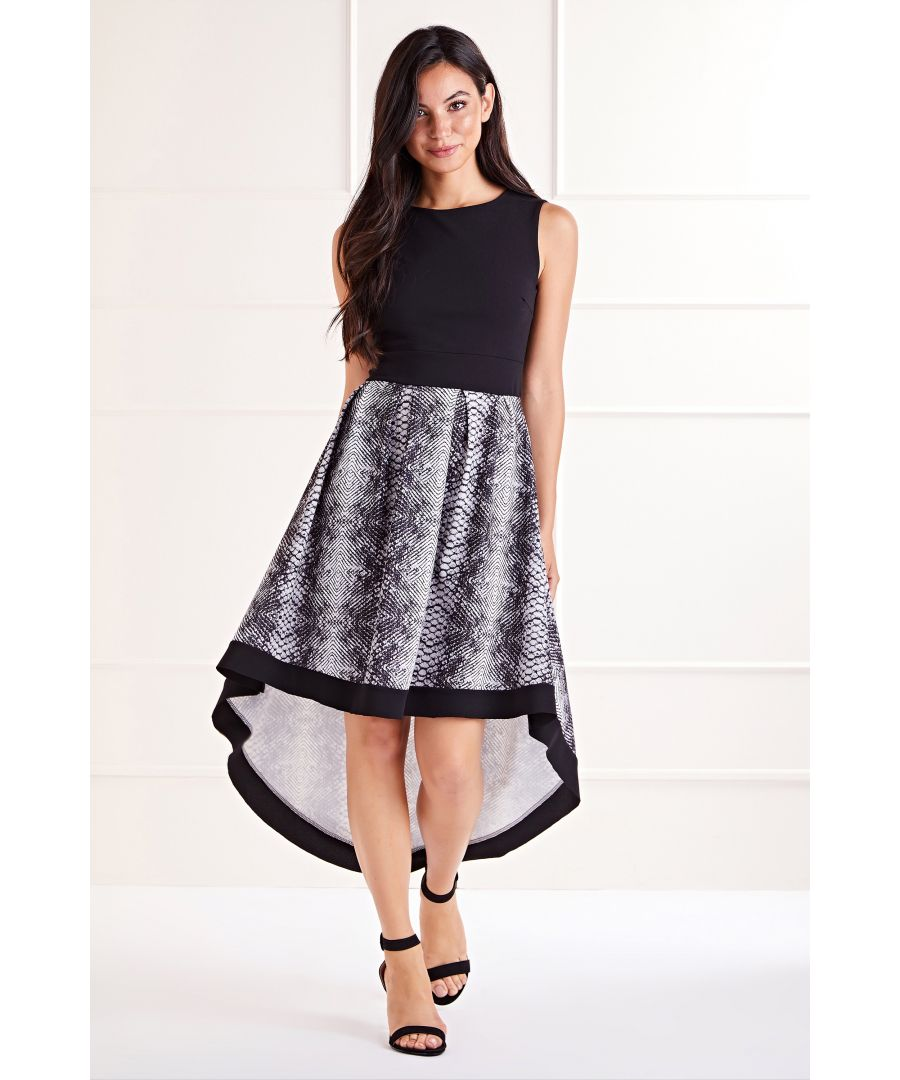Image for Black Snake Print High Low Dress