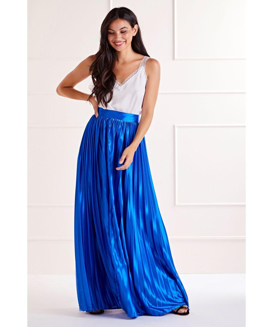 Image for Cobalt Satin Effect Maxi Skirt