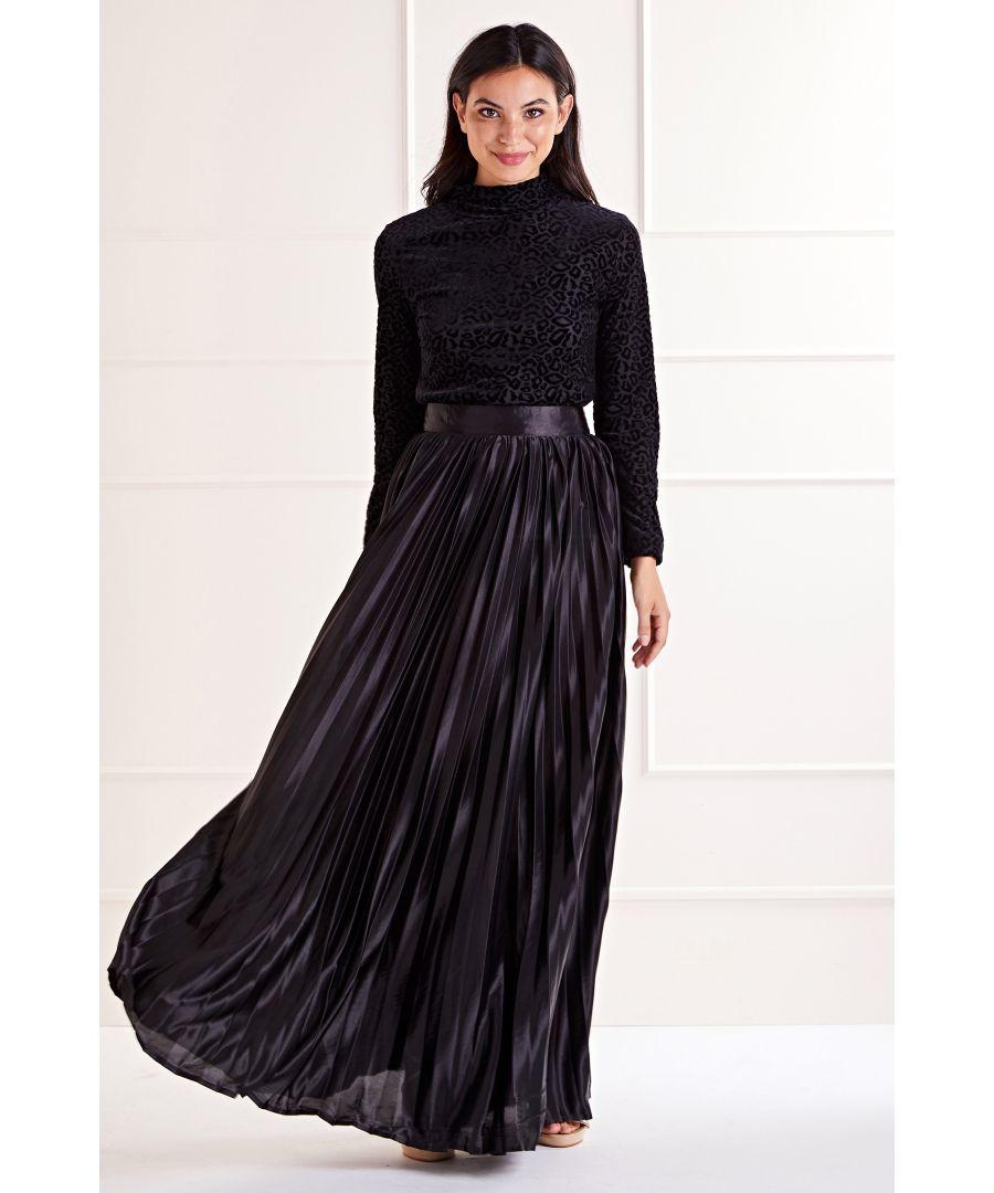 Image for Black Satin Effect Maxi Skirt