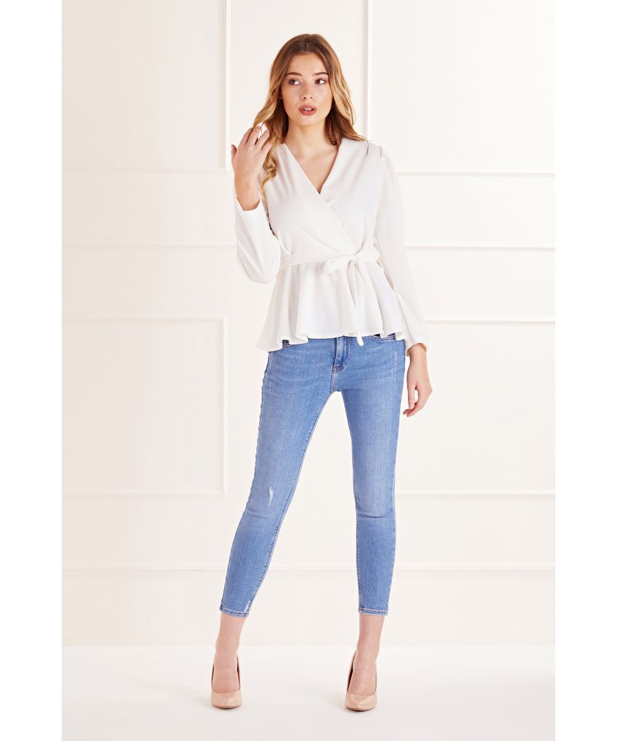 Image for White Wrap Front Top