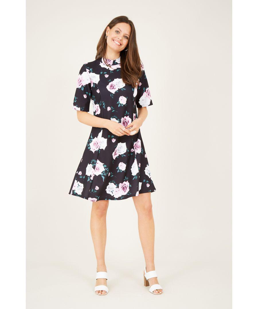 Image for Black Rose Printed High Neck Dress