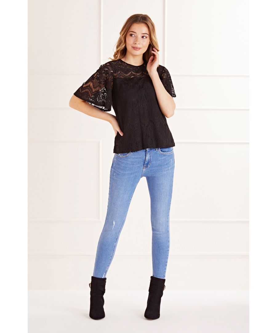 Image for Lace Fluted Sleeve Top