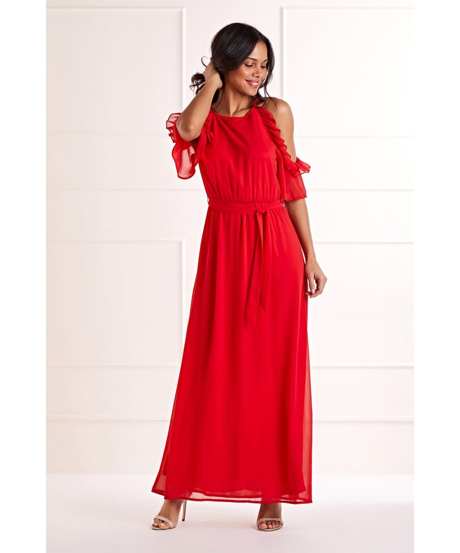 Image for Red Side Frill Round Neck  Maxi Dress