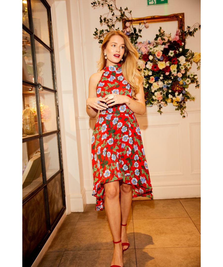 Image for Mela London Floral High Neck High Low Dress